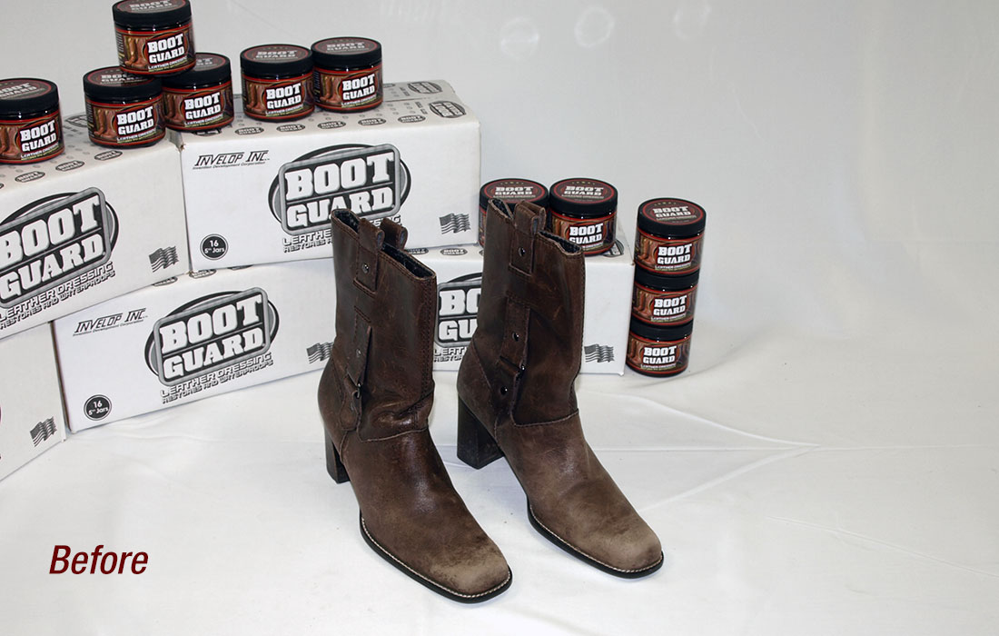 Women's boots before being treated with Boot Guard®