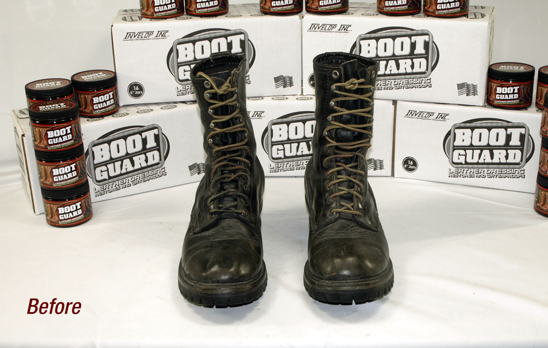 Men's boots before being treated with Boot Guard®