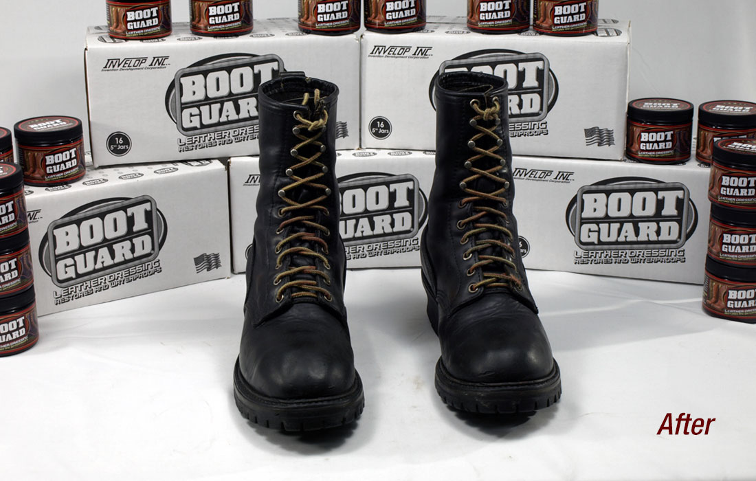 Men's boots after being treated with Boot Guard®